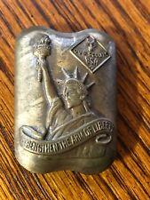 Boy Scout BSA Cub 1950 Brass Neckerchief Slide ~ Strengthen the Arm Of Liberty