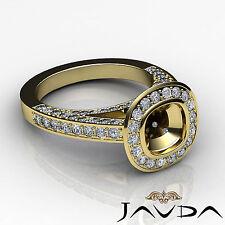 Diamond Engagement Ring Cushion Semi Mount Bezel VS1-VS2 18k Yellow Gold 1.7Ct