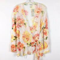 Cache Size L Large White Orange Floral Crinkle Lace Blouse Wrap NWT