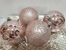 "Shabby Chic Pink Glitter 4.25"" Christmas Plastic Ornaments Decor  Set of 4"