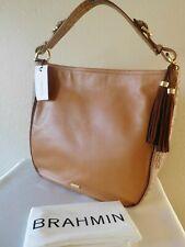 New BRAHMIN EVA Sedona Tan Smooth Croc Leather Tote, Handbag, Purse