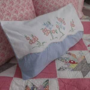 Vintage Embroidered Bluebirds Lumbar PILLOW SHAM 20x12 Cottage Sweet