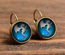 new Dinosaur Bronze Glass cabochon 18mm handmade Earrings Jewelry GC-22