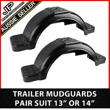 """TRAILER PLASTIC BLACK MUDGUARD PAIR WITH STEP SUIT 13"""" / 14"""" WHEELS GUARDS BOAT"""