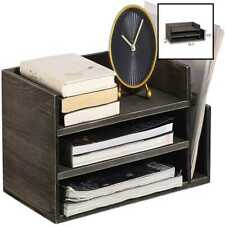 Ycoco Desktop File Document Letter Tray Holder Organizer Rustic Gray Wood Mail 3