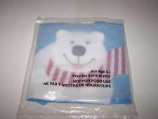 "Polar Bear fabric gift bag Christmas bag new still sealed 8"" x 8"" w/handle Blue"