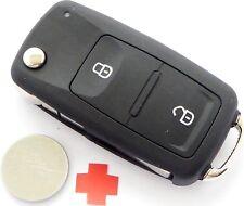 Auto Klapp Schlüssel Gehäuse Fernbedienung VW SKODA SEAT 2 Tasten + Batterie HAA