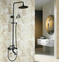 Black Oil Rubbed Bronze Wall Mount Bathroom Rainfall Shower Faucet Set Mixer Tap