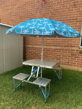 Beach Umbrella Folding Table + 4 Chairs Outdoor Picnic Set
