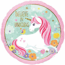 "UNICORN ""BELIEVE IN UNICORNS""  *** 45 cm FOIL BALLOON *** HOLOGRAPHIC**"
