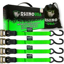 RHINO USA Ratchet Tie Down Straps 4-Pack (Green)