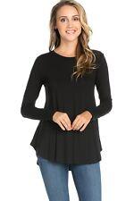 Women's Casual Scoop Neck Long Sleeve Scallop Hem Tunic Top Long T-Shirt Dress