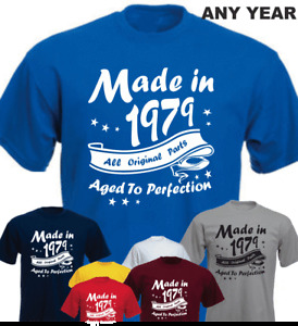 Made in 40th Birthday 1979 Aged To Perfection New T-shirt Vintage Present Gift