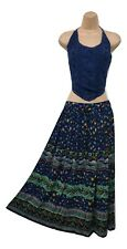 Ladies Long Skirt Boho Blue Green Print Rayon Holiday One Size 8 10 12 14 16