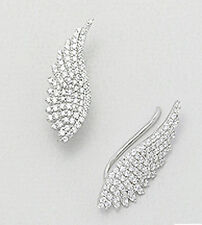 """Stylish Couture 1"""" Sterling Silver CZ Angel Wing Ear Cuff CRAWLER Hook Earrings"""