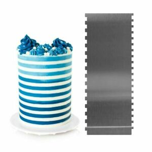 Cake Scraper, Stainless Steel Stripe Cake Comb Two Sided Baking Decorating Tools
