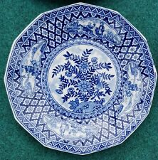 9 Octagonal Antique Delft Blue White Kangxi style Plates Bird Flowers Man Woman