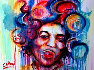 Hendrix Jimi GEMÄLDE abstrakt C. FANTA ORIGINAL Kunst Leinwand MALEREI portrait