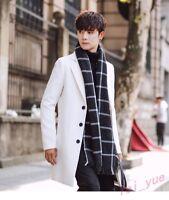 Korean Mens Spring Slim Fit Long Trench Coat Outwear Overcoat Wool Blend Jackets