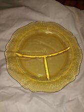 1 Yellow Amber Devided Depression Glass Plate