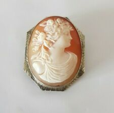 in 10K Gold Pin Brooch Pendant Antique Italian Hand Carved Shell Cameo