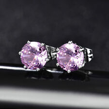 HUCHE Round Pink Diamond Sapphire 18K White Gold Filled Lady Girl Studs Earrings