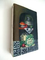 VTG 1960's MEXICAN OIL ON CANVAS TRADITIONAL SMALL STILL LIFE PAINTING; UNFRAMED