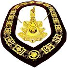 Masonic PENDANT + Collar PAST MASTER MAROON BACKING GOLD CHAIN DMR-200GM+PMP