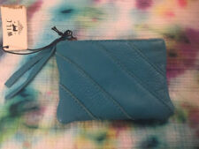 Will Leather Goods Zippered Coin Purse wallet change Turquoise Htf New