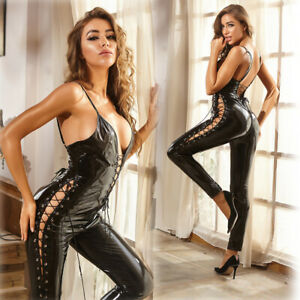 Catsuit PU Leather Costume Smooth Jumpsuit Clubwear Women Sexy Bodysuit Deep-V