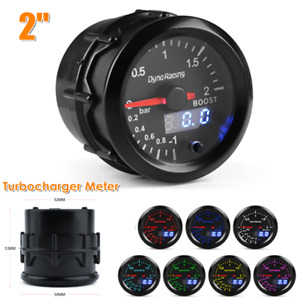 "12V 2""/52MM LED Car Turbo Boost Gauge Bar Digital&Pointer Vacuum Pressure Meter"