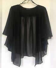 Womens BLACK Plus Size 1X Chiffon Cardigan Bolero Shrug Top