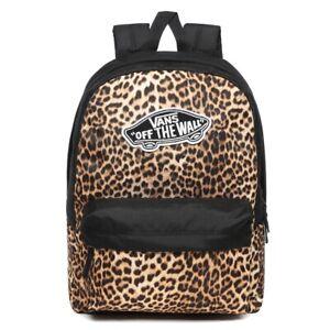 Vans Realm Off The Wall Black Leopard Print Rucksack Backpack School Bag