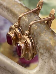 Actual 583 14K Russian Vintage .Rose Gold Soviet Ruby Earrings