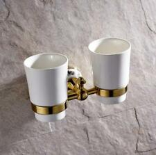 Bathroom Brass Toothbrush Holder Ceramic Cup Storage Shelf Wall Mounted Hanger