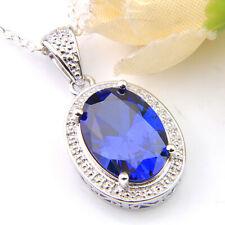 Oval Shaped Woman Swiss Blue Topaz Gemstone Silver Necklace Pendants for Wedding