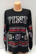 Victoria's Secret PINK Christmas Bling Sweatshirt in Black Size XS BNWT