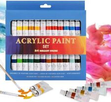 24 Colours x 12ml Acrylic Paint Set, Non-Toxic Drawing Painting Pigment Set Age