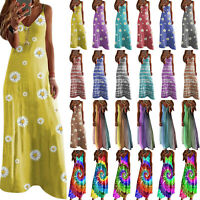 Plus Size Women Boho Travel V Neck Maxi Dress Casual Slim Beach Holiday Sundress