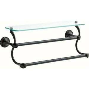 "Glass Shelf with Double Towel Bar 18"" Venetian Bronze Delta EXTEN20"