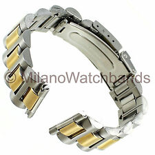 20mm Graham Center Clasp Two Tone Curved/Straight Ends Stainless Watch Band T712