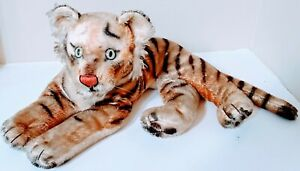 """Vintage Mohair Lying Tiger 22"""" Steiff (?) Very Old!"""