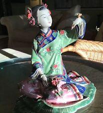 Estate Large Antique Chinese Porcelain Geisha Figurine Marked