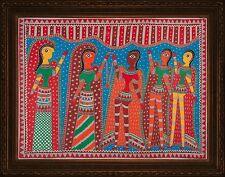 """Madhubani Folk Art Colorful Painting Tribal India wedding Life size 22x30"""""""