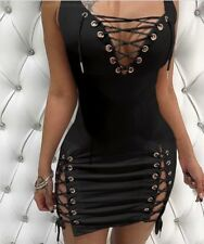 US Women Sexy V-Neck Lace up Bodycon Bandage Mini Dress Sleeveless Club Party