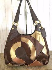 Coach F20032 Brass/Chocolate/brown Multi Inlaid Patchwork Hobo Handbag