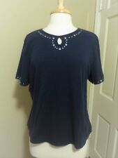 navy blue alfred dunner knit top silver rivet eyelet size medium very good cond