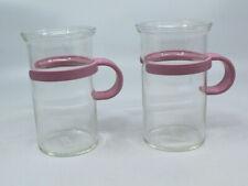 Bodum Assam Tall Glass Hot Iced Coffee Tea Mug Cup Clear Pink Handle Set of 2