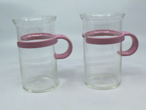 Bodum Assam Tall Glass Hot Iced Coffee Tea Mug Cup Clear Pink Handle Set of 2