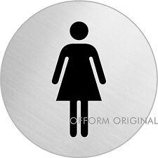 "OFFORM Edelstahl Türschild I Toilettenschild I ""WC Damen"" I Ø 75mm I Nr.8472"